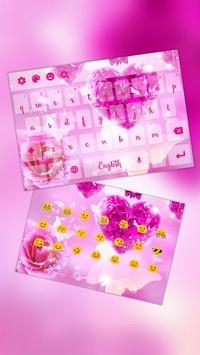 Pink Crystal Heart Rose Keyboard apk screenshot