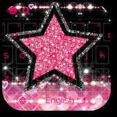 Glitter Pink Star Keyboard Theme icon