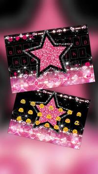 Glitter Pink Star Keyboard Theme poster