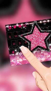 Glitter Pink Star Keyboard Theme screenshot 1