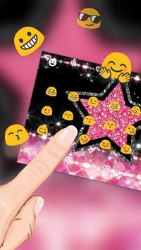 Glitter Pink Star Keyboard Theme screenshot 2