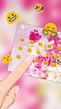 Heart Pink Crystal Rose Keyboard apk screenshot