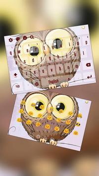 Lovely Dark Red Owl Keyboard poster