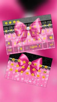 Pink Bowknot Diamond Keyboard Theme poster