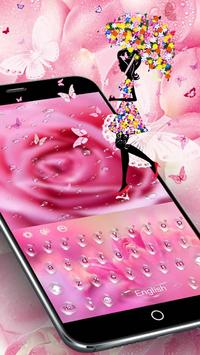 Pink Rose Water Drops الملصق