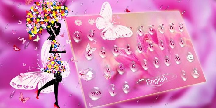 Pink Rose Water Drops Keyboard apk screenshot