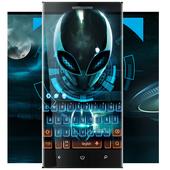 Neon glow Alien space keyboard icon