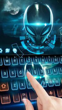 Neon glow Alien space keyboard poster
