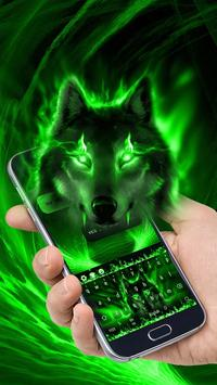 Green Wolf Moon Animal Keyboard poster