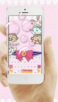 Pink Bow Cartoon Cute Girl's Clothing Keyboard screenshot 2