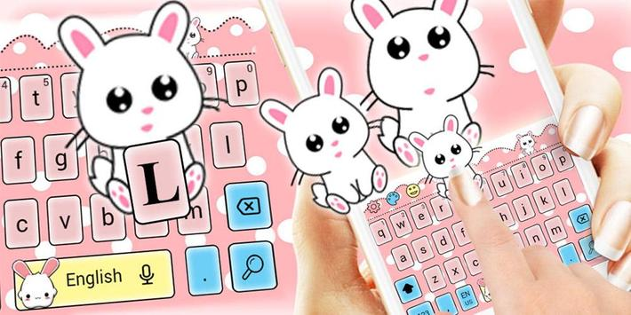 Cute Lovely Rabbit Cartoon Keyboard Theme apk screenshot