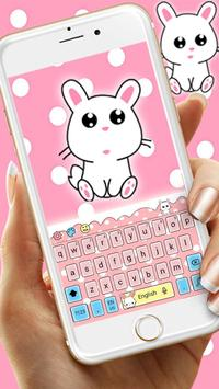 Cute Lovely Rabbit Cartoon Keyboard Theme poster