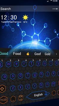 Blue Honeycomb Simple Tech Network Keyboard Theme apk screenshot
