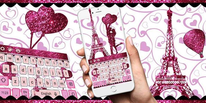 Eiffel Tower Pink Glitter Paris Keyboard Theme. apk screenshot
