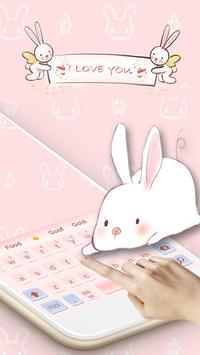 Cute Pink Angel Rabbit Girl Heart Cartoon Keyboard apk screenshot