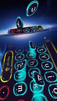 Blue Dream Technology Graffiti Neon Keyboard Theme apk screenshot