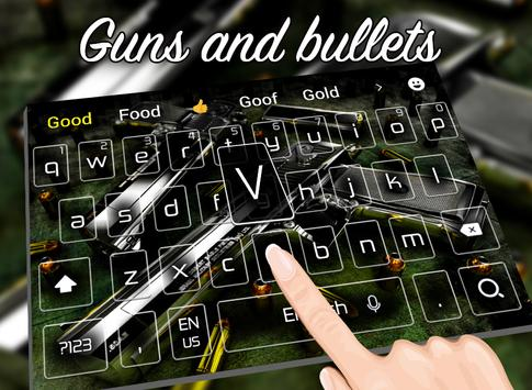 Cool Guns and bullets keyboard theme apk screenshot
