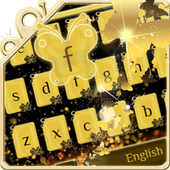 Golden glitter Butterfly Keyboard icon