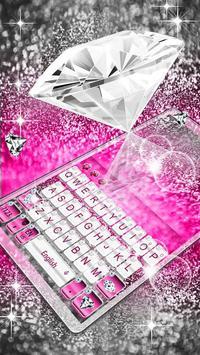 Elegant Pink Diamond Keyboard Theme poster