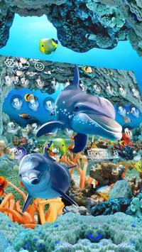 Underwater world adventure dolphins fish keyboard poster