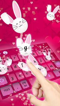 Cute Bunny Lovely Kanin Sleutelbord tema apk screenshot
