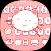 Pink kitty Cartoon Cute Cat keyboard bowknot theme icon