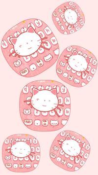 Pink kitty Cartoon Cute Cat keyboard bowknot theme apk screenshot