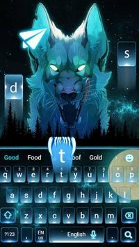 Blue Ice Wolf keyboard Theme poster