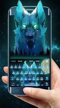 Blue Ice Wolf keyboard Theme screenshot 1