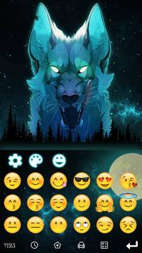 Blue Ice Wolf keyboard Theme screenshot 2