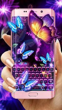 Neon butterfly keyboard poster