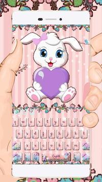 Lovely Rabbit Cartoon Keyboard poster