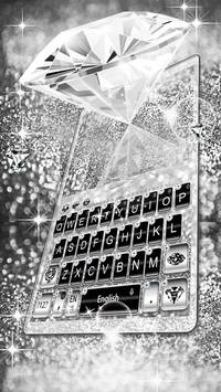 Elegant Silver Diamond Keyboard Theme poster