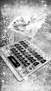 Elegant Silver Diamond Keyboard Theme apk screenshot