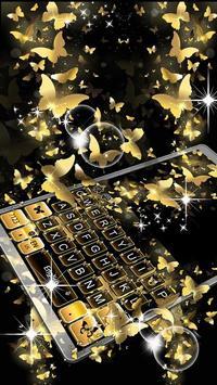 Gold Butterfly Keyboard Theme apk screenshot