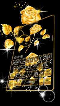 Gold Rose Keyboard Theme poster