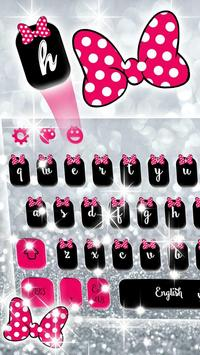 Pink Bow Silver Glitter Keyboard Theme screenshot 3