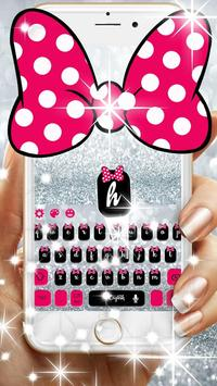 Pink Bow Silver Glitter Keyboard Theme screenshot 1