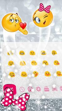 Pink Bow Silver Glitter Keyboard Theme screenshot 2