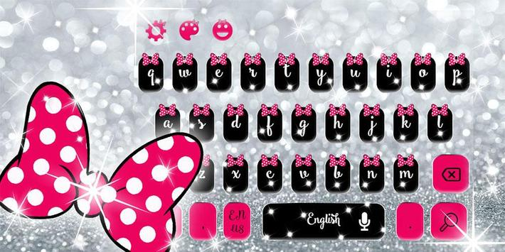 Pink Bow Silver Glitter Keyboard Theme screenshot 4