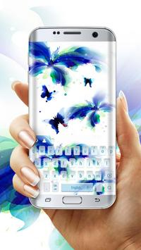 Blue butterfly colorful keyboard skin poster