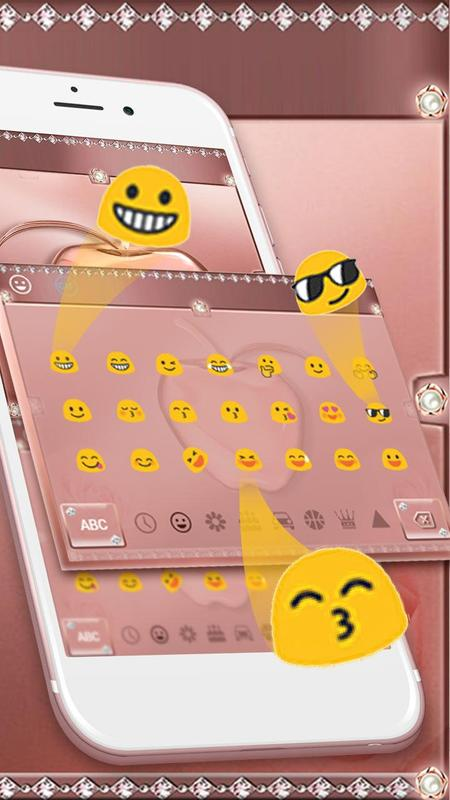 Crystal Apple Rose Gold - Music Keyboard Theme screenshot 2