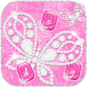Pink Rose Keyboard Diamond Butterflies Theme icon