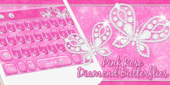 Pink Rose Keyboard Diamond Butterflies Theme screenshot 3