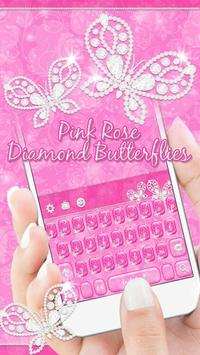 Pink Rose Keyboard Diamond Butterflies Theme poster