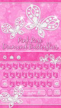 Pink Rose Keyboard Diamond Butterflies Theme screenshot 1
