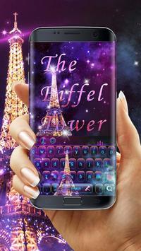 Purple Neon Eiffel Tower Keyboard poster