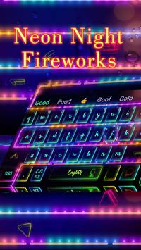 Neon Night Fireworks Keyboard poster