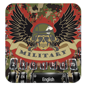 Military camouflage skull keyboard icon