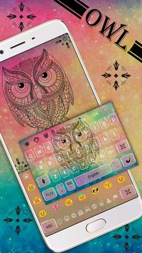 Pastel Galaxy Owl keyboard Theme poster